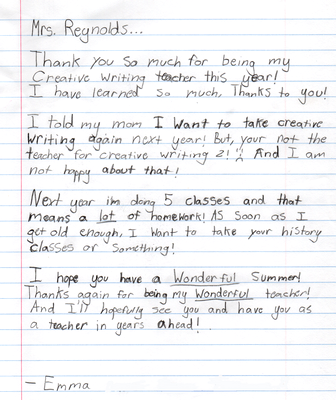 Emma's letter after Creative Writing Class