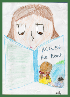 "Molly reading ""Across the Reach"""