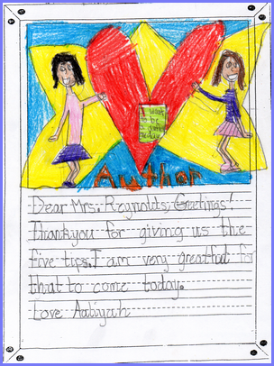 A Letter from Aaliyah after school visit.