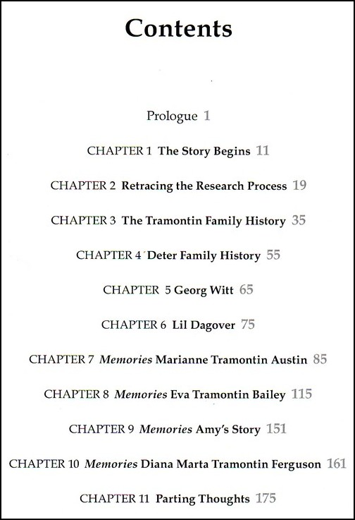 A Family's Quest Contents Page